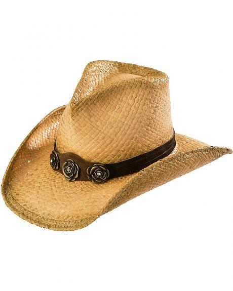 Shady Brady Rose Concho Hat Band Crushable Straw Cowgirl Hat