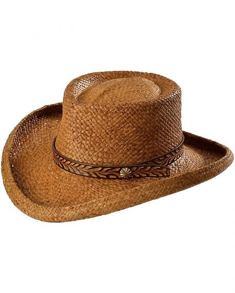 Shady Brady Tooled Leather Hat Band Gambler Straw Hat