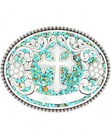 Nocona Faux Turquoise Stones & Cross Buckle
