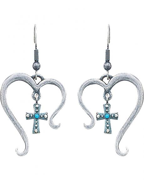 Montana Silversmiths Antiqued Silver-Tone Open Heart with Cross Earrings