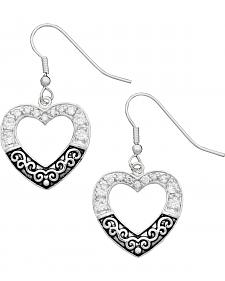 Montana Silversmiths Antiqued Silver-Tone Filigree Pave Heart Earrings