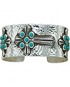 Montana Silversmiths Hammered Turquoise Cabochons Cross Bracelet