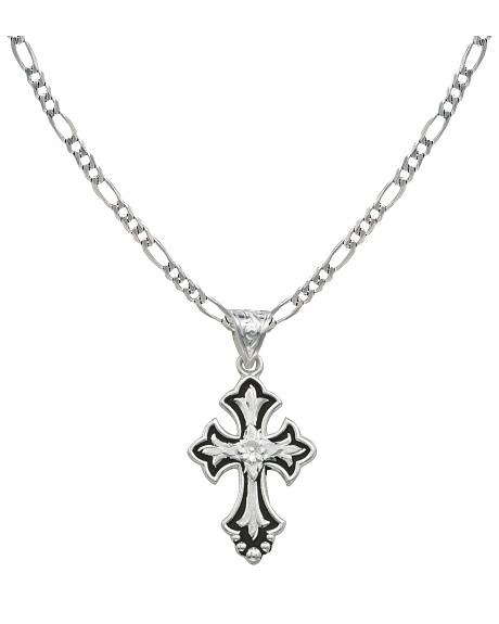 Montana Silversmiths Silver-Tone & Black Filigree Cross Necklace