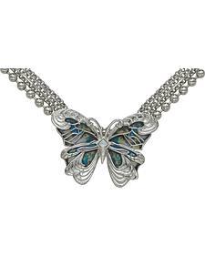 Montana Silversmiths Silver Blue Green Swirl Butterfly Necklace