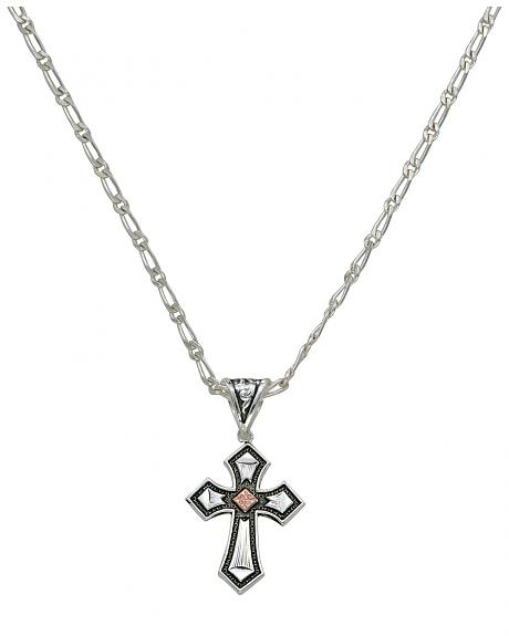 Montana Silversmiths Antique Silver with Copper Cross Necklace