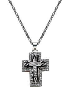 Montana Silversmiths Silver & Black Rhinestone Cross Necklace