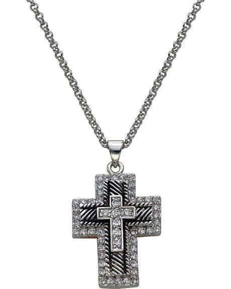 Montana Silversmiths Silver & Black Rhinestone Cross Necklace