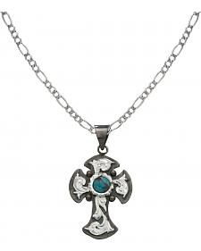 Montana Silversmiths Antiqued Silver Cross with Faux Turquoise Necklace