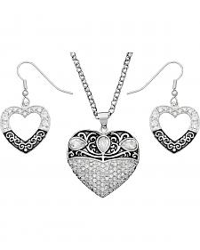 Montana Silversmiths Silver-Tone Antiqued Filigree Heart Necklace & Earrings Set