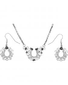 Montana Silversmiths Filigree Horseshoe Necklace & Earrings Set