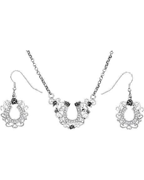 Montana Silversmiths Filigree Horseshoe Necklace & Earrings Set
