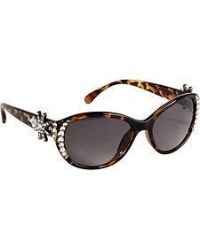 Blazin Roxx UV 400 Protection Rhinestone Studded Spur Rowel Tortoise Sunglasses
