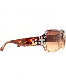 Rhinestone Embellished Cross Tortoise Sunglasses