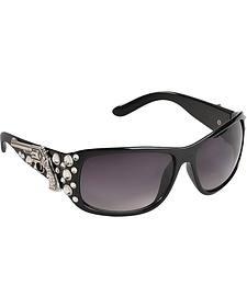 Blazin Roxx UV 400 Protection Rhinestone Studded Pistol Concho Black Sunglasses