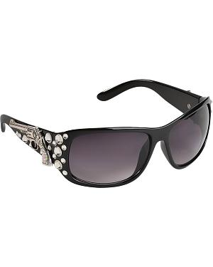 Blazin Roxx UV 400 Protection Rhinestone Studded Pistol Concho Black Sunglasses