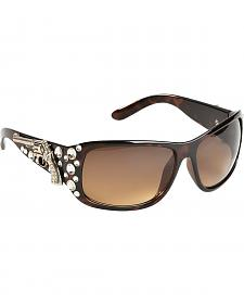 Blazin Roxx UV 400 Protection Rhinestone Studded Pistol Concho Brown Sunglasses