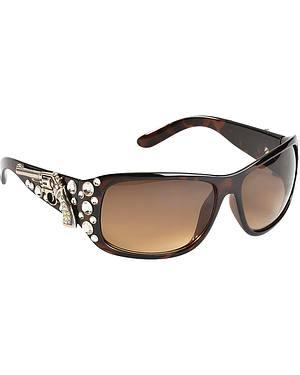 Blazin Roxx UV 400 Protection Rhinestone Studded Pistol Concho Brown Sunglasses