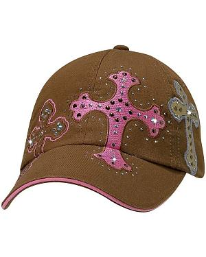Cross Embroidered Crystal Casual Cap