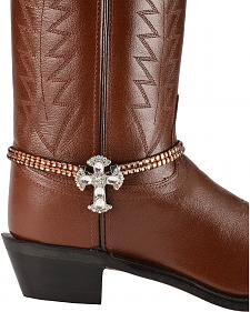 Brown Crystals Cross Charm Boot Bracelet