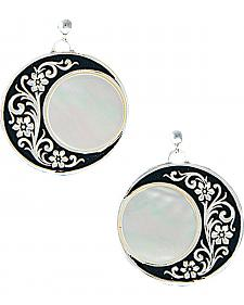 Montana Silversmiths Filigree Half Moon & Mother of Pearl Earrings