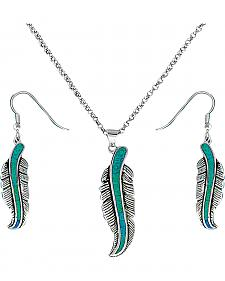 Montana Silversmiths Opal Feather Necklace & Earrings Set