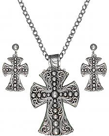 Montana Silversmiths Scrolling & Beaded Cross Necklace & Earrings Set