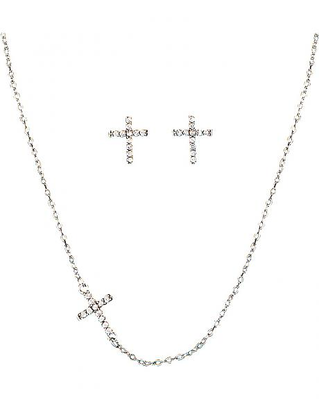 Montana Silversmiths Small Floating Cross Necklace & Earrings Set