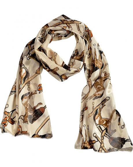 Imagine It Horse & Saddle Western Print Scarf