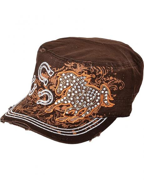 Running Horse & Horseshoes Embroidered Bling Cap