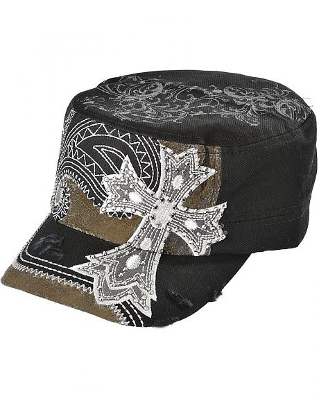 Cross Embroidered Paisley Stitched Cap