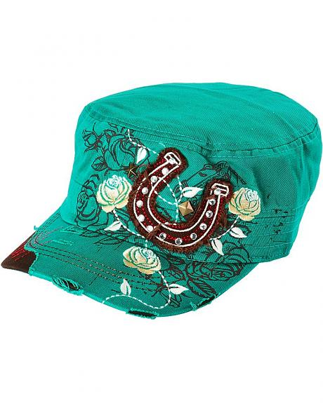 Horseshoe & Rose Embroidered Bling Cap