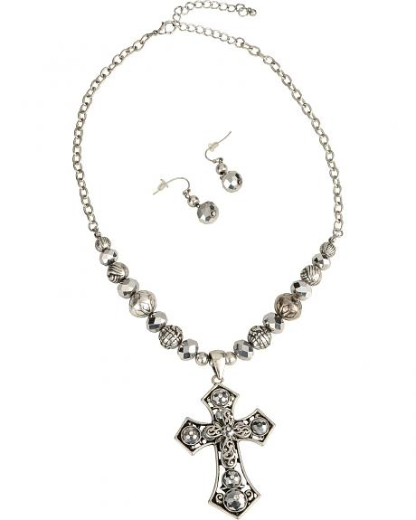 Silver Strike Beaded Cross Necklace & Earrings Set