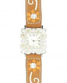 Blazin Roxx Floral Embroidered & Rhinestone Bedecked Watch