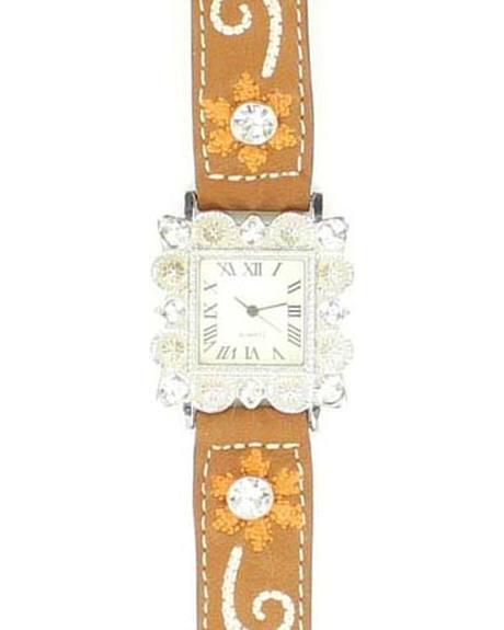 Blazin Roxx Floral Embroidered & Rhinestone Bedecked Watch