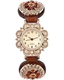Blazin Roxx Studded Floral Concho Watch