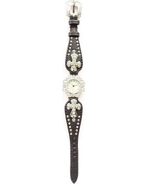 Blazin Roxx Studded Cross Concho Watch