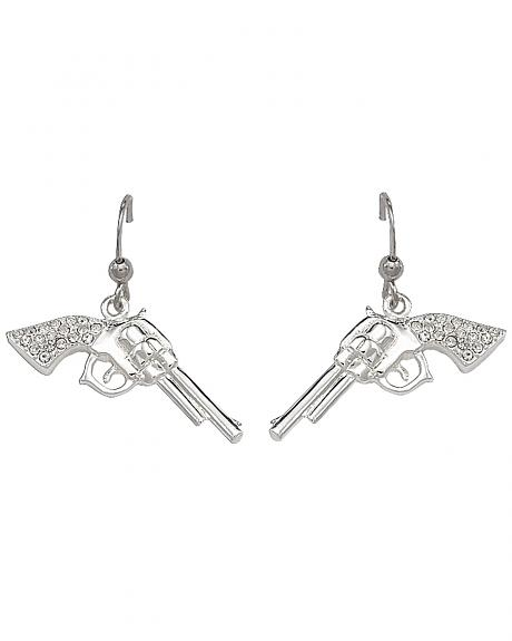 Montana Silversmiths Rhinestone Encrusted Pistol Earrings