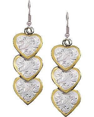 Montana Silversmiths Three Heart Dangle Earrings