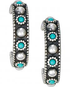 Montana Silversmiths Antique Silver Turquoise Hoop Earrings
