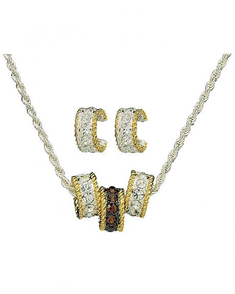 Montana Silversmiths Topaz Crystal Triple Rings Necklace & Earrings Set