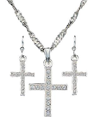 Montana Silversmiths Rhinestone Cross Necklace & Earrings Set
