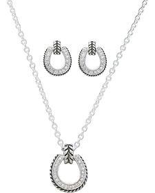 Montana Silversmiths Cubic Zirconia Roped Edge Horseshoe Necklace & Earrings Set