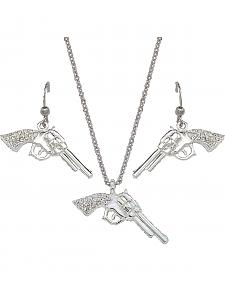 Montana Silversmiths Rhinestone Pistol Necklace & Earrings Set