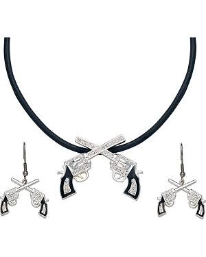 Montana Silversmiths Crossed Pistols Necklace & Earrings Set