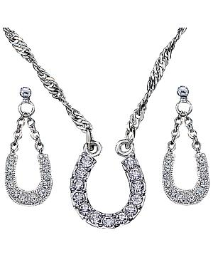 Montana Silversmiths Crystal Clear Lucky Horsehoe Necklace & Earrings Set