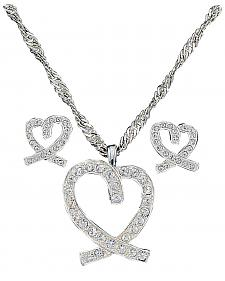 Montana Silversmiths A Caring Heart in Clear Rhinestones Necklace & Earrings Set
