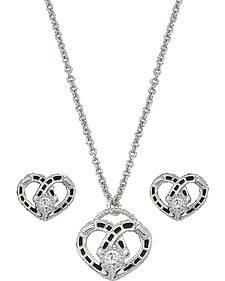 Montana Silversmiths Horseshoe Heart Necklace & Earrings Set
