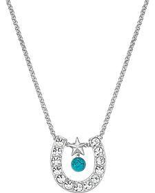 Montana Silversmiths Rhinestone Horseshoe with Turquoise Bead Necklace