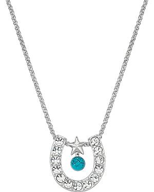 Montana Silversmiths Rhinestone Horseshoe with Turquoise Bead Necklace