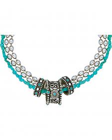 Montana Silversmiths Triple Strand Turquoise Passion Flower Necklace